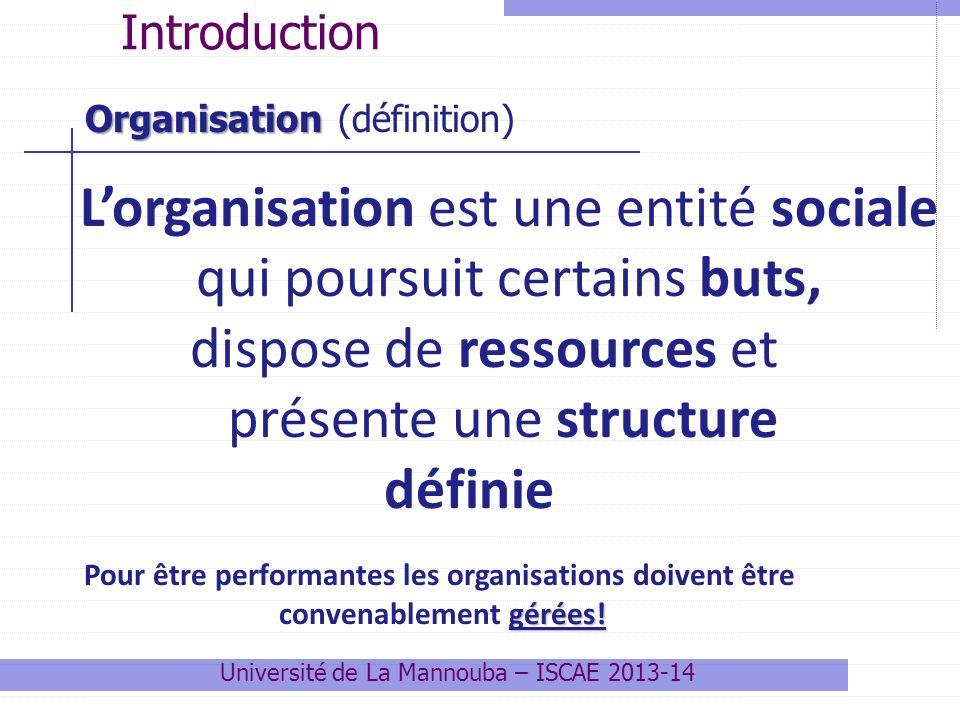 Lorganisation est une entité sociale qui poursuit certains buts, dispose de ressources et présente une structure définie Pour être performantes les organisations doivent être gérées.