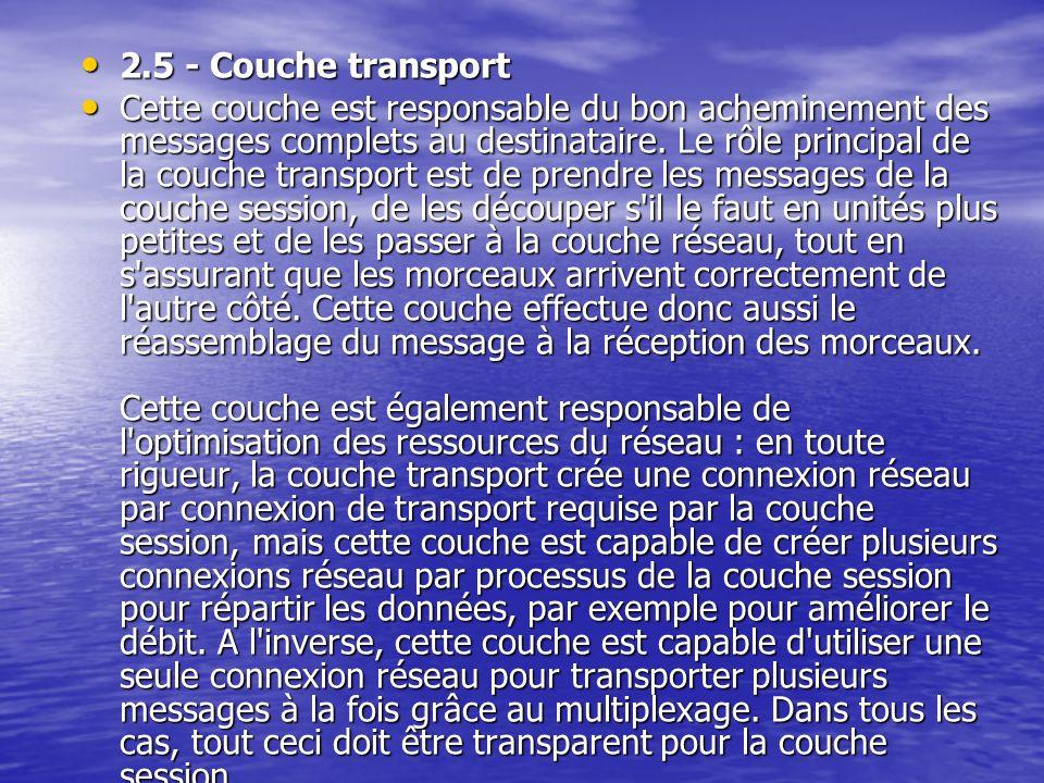2.5 - Couche transport 2.5 - Couche transport Cette couche est responsable du bon acheminement des messages complets au destinataire.