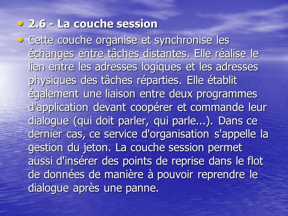 2.6 - La couche session 2.6 - La couche session Cette couche organise et synchronise les échanges entre tâches distantes. Elle réalise le lien entre l