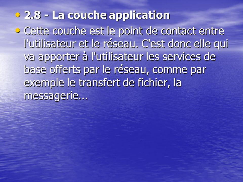 2.8 - La couche application 2.8 - La couche application Cette couche est le point de contact entre l'utilisateur et le réseau. C'est donc elle qui va