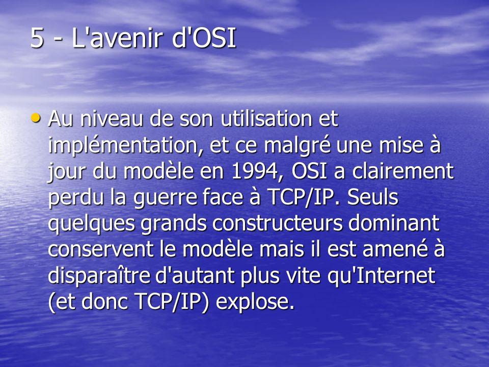 5 - L'avenir d'OSI Au niveau de son utilisation et implémentation, et ce malgré une mise à jour du modèle en 1994, OSI a clairement perdu la guerre fa