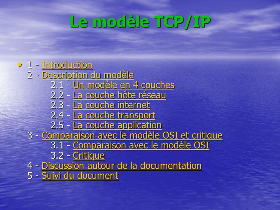 Le modèle TCP/IP 1 - Introduction 2 - Description du modèle 2.1 - Un modèle en 4 couches 2.2 - La couche hôte réseau 2.3 - La couche internet 2.4 - La couche transport 2.5 - La couche application 3 - Comparaison avec le modèle OSI et critique 3.1 - Comparaison avec le modèle OSI 3.2 - Critique 4 - Discussion autour de la documentation 5 - Suivi du document 1 - Introduction 2 - Description du modèle 2.1 - Un modèle en 4 couches 2.2 - La couche hôte réseau 2.3 - La couche internet 2.4 - La couche transport 2.5 - La couche application 3 - Comparaison avec le modèle OSI et critique 3.1 - Comparaison avec le modèle OSI 3.2 - Critique 4 - Discussion autour de la documentation 5 - Suivi du documentIntroductionDescription du modèleUn modèle en 4 couchesLa couche hôte réseauLa couche internetLa couche transportLa couche applicationComparaison avec le modèle OSI et critiqueComparaison avec le modèle OSICritiqueDiscussion autour de la documentationSuivi du documentIntroductionDescription du modèleUn modèle en 4 couchesLa couche hôte réseauLa couche internetLa couche transportLa couche applicationComparaison avec le modèle OSI et critiqueComparaison avec le modèle OSICritiqueDiscussion autour de la documentationSuivi du document