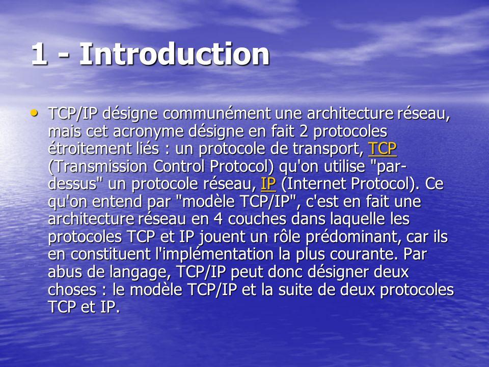 1 - Introduction TCP/IP désigne communément une architecture réseau, mais cet acronyme désigne en fait 2 protocoles étroitement liés : un protocole de transport, TCP (Transmission Control Protocol) qu on utilise par- dessus un protocole réseau, IP (Internet Protocol).
