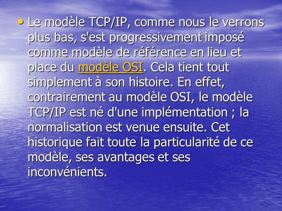 Le modèle TCP/IP, comme nous le verrons plus bas, s'est progressivement imposé comme modèle de référence en lieu et place du modèle OSI. Cela tient to