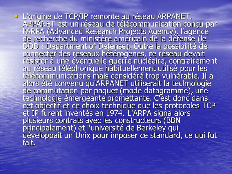 L'origine de TCP/IP remonte au réseau ARPANET. ARPANET est un réseau de télécommunication conçu par l'ARPA (Advanced Research Projects Agency), l'agen