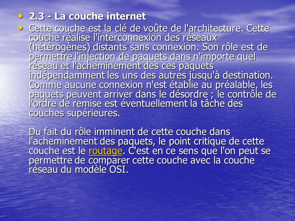 2.3 - La couche internet 2.3 - La couche internet Cette couche est la clé de voûte de l'architecture. Cette couche réalise l'interconnexion des réseau
