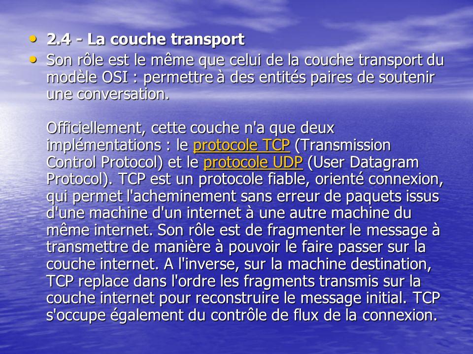 2.4 - La couche transport 2.4 - La couche transport Son rôle est le même que celui de la couche transport du modèle OSI : permettre à des entités paires de soutenir une conversation.