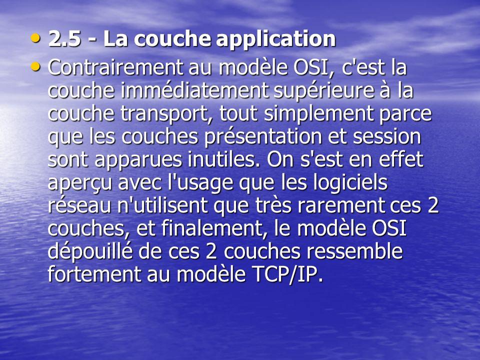 2.5 - La couche application 2.5 - La couche application Contrairement au modèle OSI, c est la couche immédiatement supérieure à la couche transport, tout simplement parce que les couches présentation et session sont apparues inutiles.