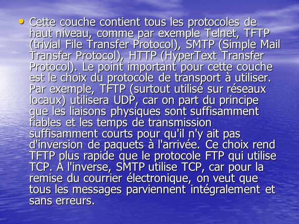 Cette couche contient tous les protocoles de haut niveau, comme par exemple Telnet, TFTP (trivial File Transfer Protocol), SMTP (Simple Mail Transfer Protocol), HTTP (HyperText Transfer Protocol).