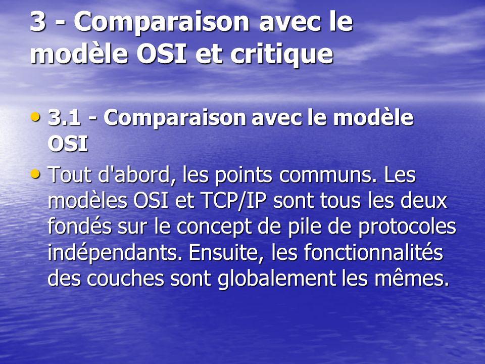 3 - Comparaison avec le modèle OSI et critique 3.1 - Comparaison avec le modèle OSI 3.1 - Comparaison avec le modèle OSI Tout d abord, les points communs.