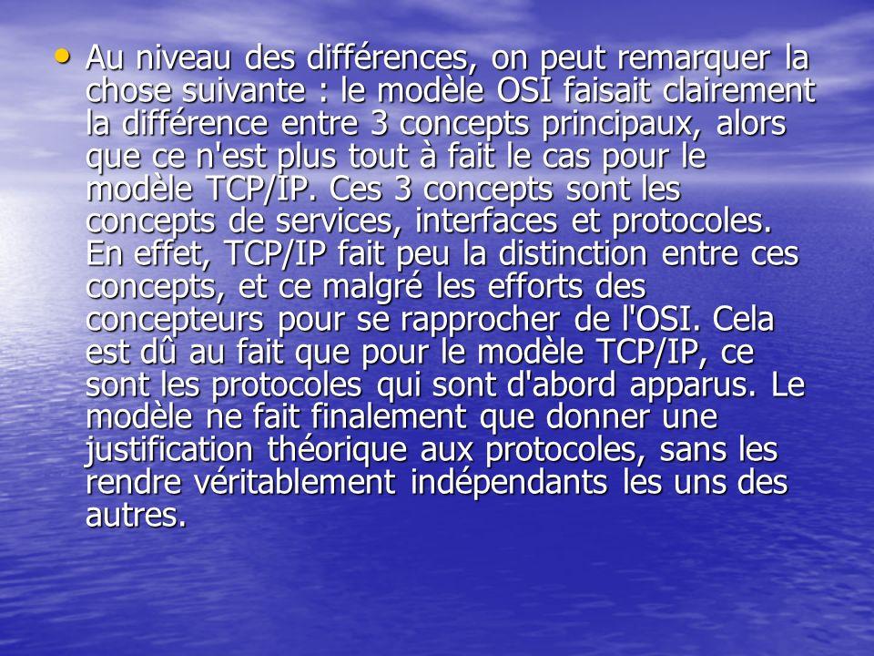 Au niveau des différences, on peut remarquer la chose suivante : le modèle OSI faisait clairement la différence entre 3 concepts principaux, alors que