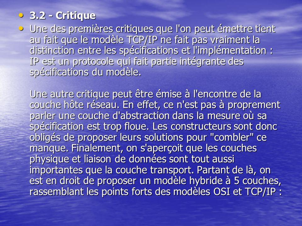3.2 - Critique 3.2 - Critique Une des premières critiques que l on peut émettre tient au fait que le modèle TCP/IP ne fait pas vraiment la distinction entre les spécifications et l implémentation : IP est un protocole qui fait partie intégrante des spécifications du modèle.