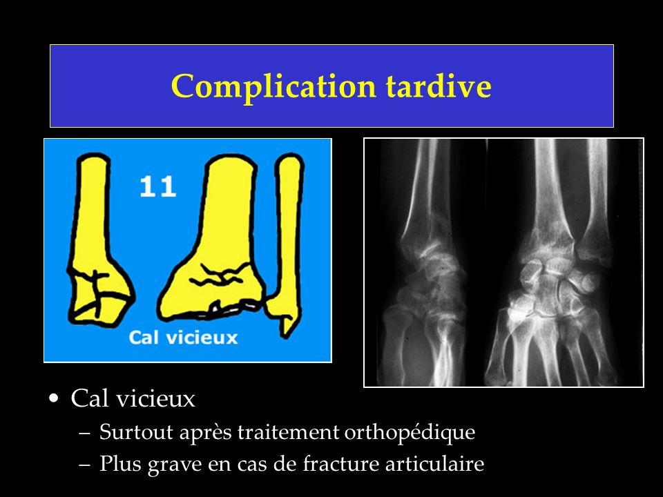 Complication tardive Cal vicieux –Surtout après traitement orthopédique –Plus grave en cas de fracture articulaire