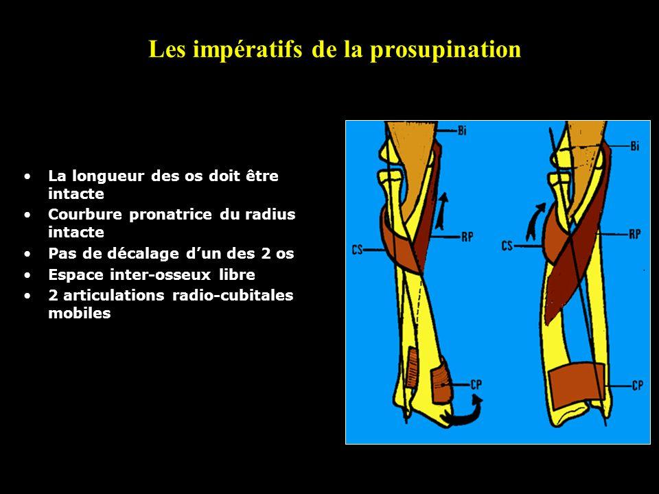 Les impératifs de la prosupination La longueur des os doit être intacte Courbure pronatrice du radius intacte Pas de décalage dun des 2 os Espace inte