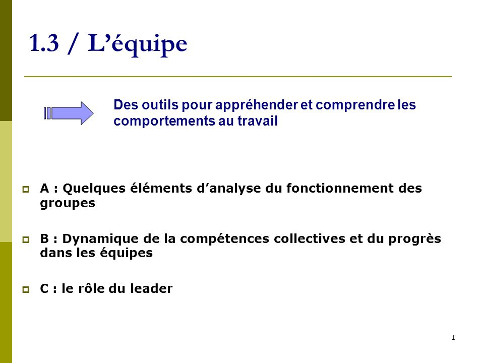 22 1.3 / Léquipe A : Quelques éléments danalyse du fonctionnement des groupes / Synthèse -Le fonctionnement des groupes est marqué par des phénomènes de rôles, statuts, normes, conformité -Le fonctionnement en équipe est porteur defficacité -À condition de ne pas être un frein à lefficacité.