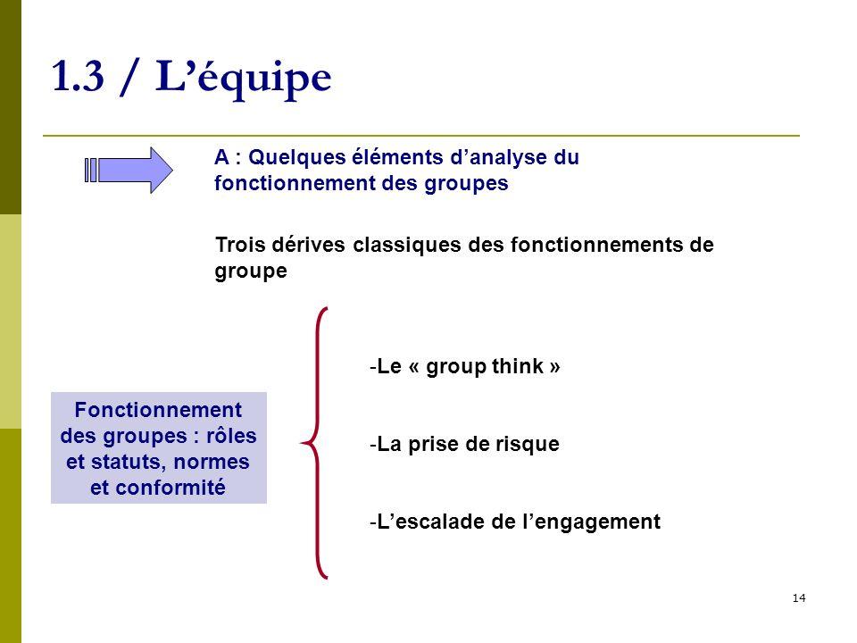 14 1.3 / Léquipe A : Quelques éléments danalyse du fonctionnement des groupes Fonctionnement des groupes : rôles et statuts, normes et conformité -Le