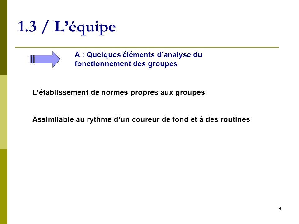 4 1.3 / Léquipe A : Quelques éléments danalyse du fonctionnement des groupes Létablissement de normes propres aux groupes Assimilable au rythme dun co