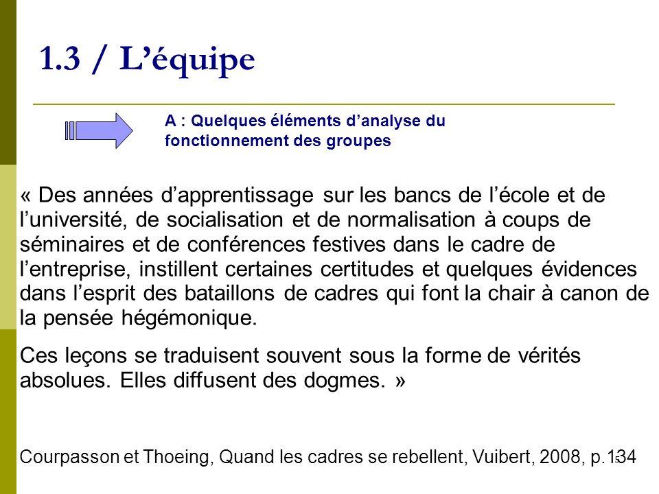 6 1.3 / Léquipe A : Quelques éléments danalyse du fonctionnement des groupes incertitude Prise de risque Problème Solution au problème Routine Compétence