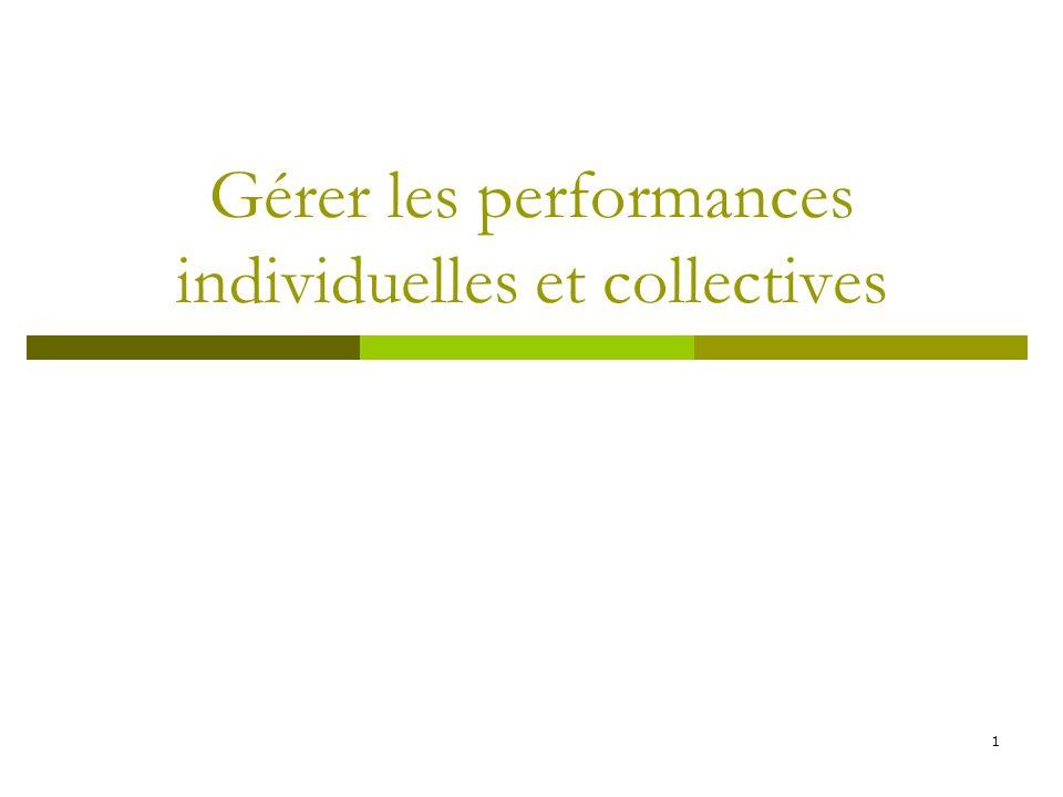 1 Gérer les performances individuelles et collectives