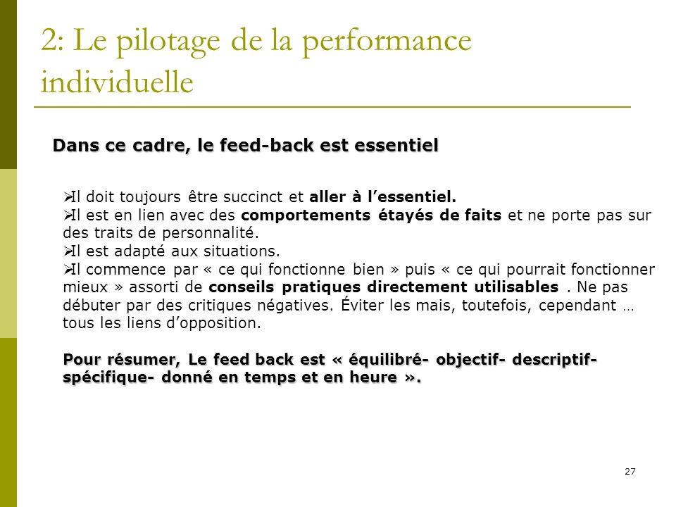 27 2: Le pilotage de la performance individuelle Dans ce cadre, le feed-back est essentiel Il doit toujours être succinct et aller à lessentiel. Il es