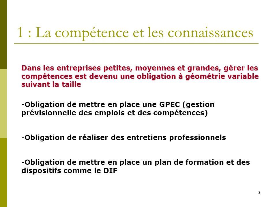 3 1 : La compétence et les connaissances Dans les entreprises petites, moyennes et grandes, gérer les compétences est devenu une obligation à géométri