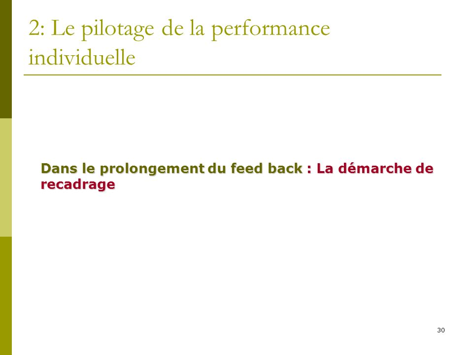 30 2: Le pilotage de la performance individuelle Dans le prolongement du feed back : La démarche de recadrage