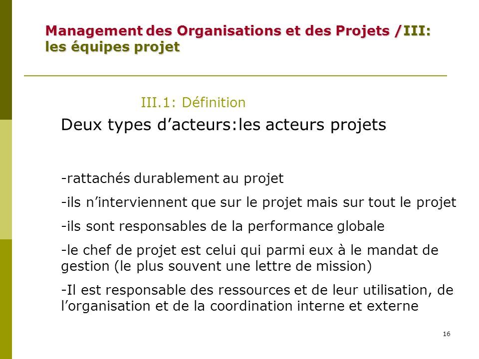 16 III.1: Définition Deux types dacteurs:les acteurs projets -rattachés durablement au projet -ils ninterviennent que sur le projet mais sur tout le p