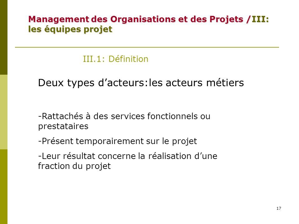 17 III.1: Définition Deux types dacteurs:les acteurs métiers -Rattachés à des services fonctionnels ou prestataires -Présent temporairement sur le pro