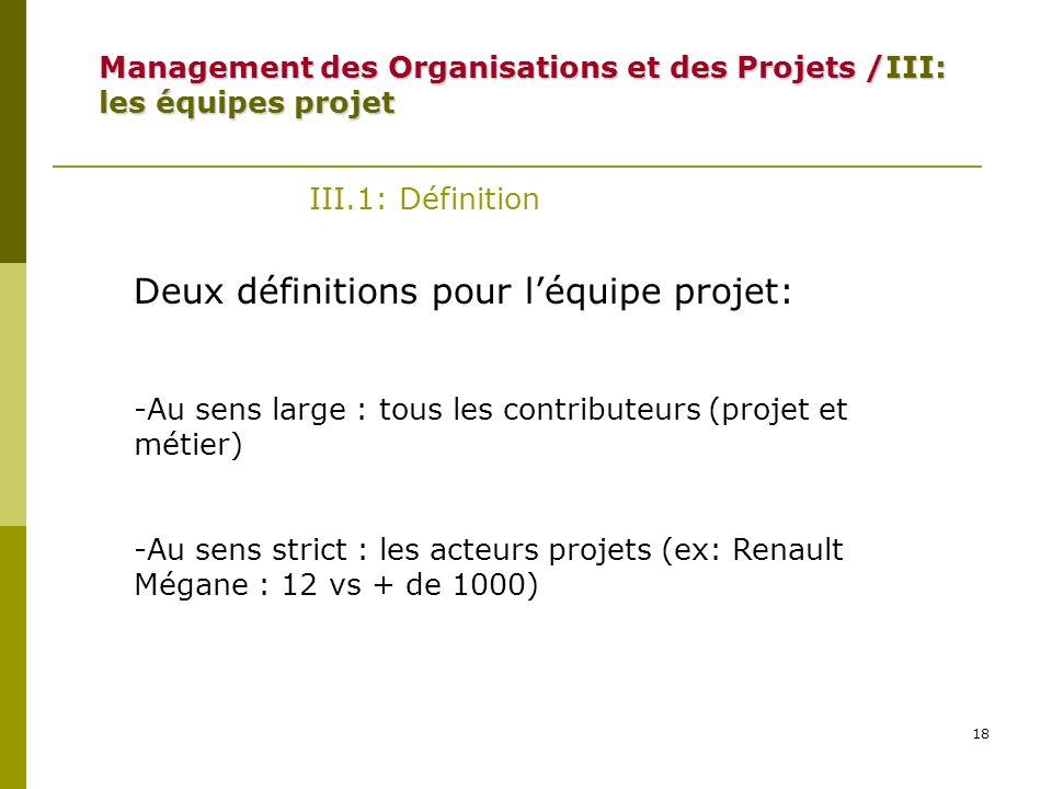 18 III.1: Définition Deux définitions pour léquipe projet: -Au sens large : tous les contributeurs (projet et métier) -Au sens strict : les acteurs pr