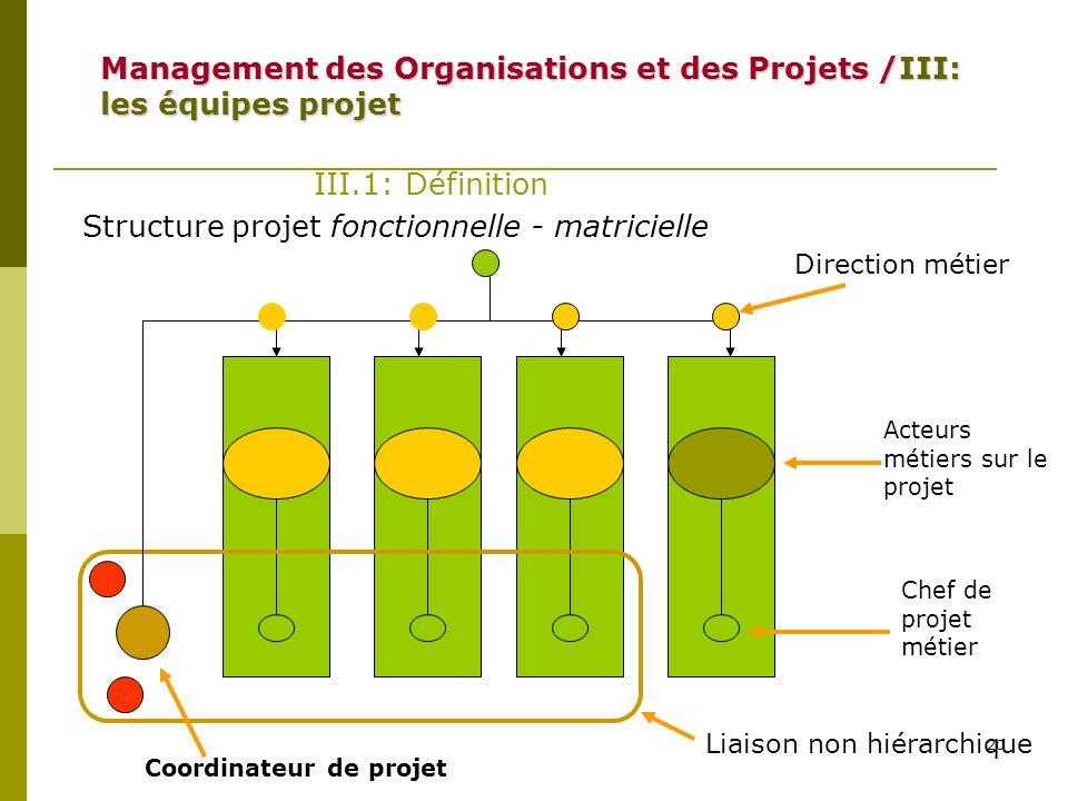 20 III.1: Définition Structure projet fonctionnelle - matricielle Coordinateur de projet Liaison non hiérarchique Direction métier Acteurs métiers sur