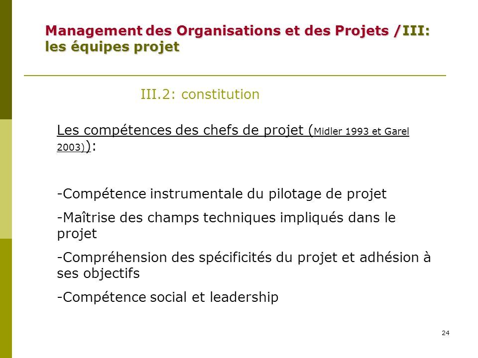24 III.2: constitution Les compétences des chefs de projet ( Midler 1993 et Garel 2003) ): -Compétence instrumentale du pilotage de projet -Maîtrise d