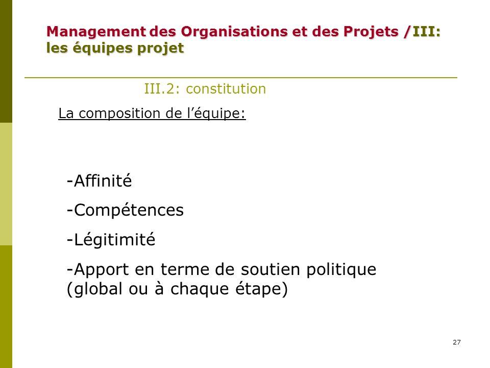 27 III.2: constitution La composition de léquipe: -Affinité -Compétences -Légitimité -Apport en terme de soutien politique (global ou à chaque étape)