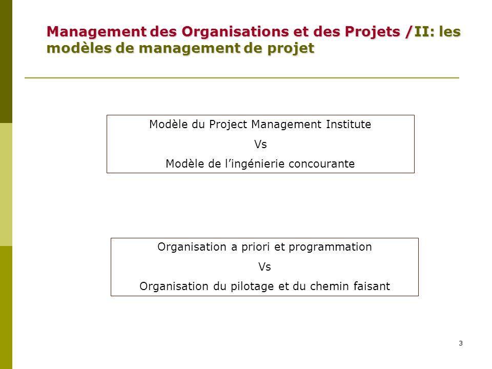3 Modèle du Project Management Institute Vs Modèle de lingénierie concourante Management des Organisations et des Projets /II: les modèles de manageme