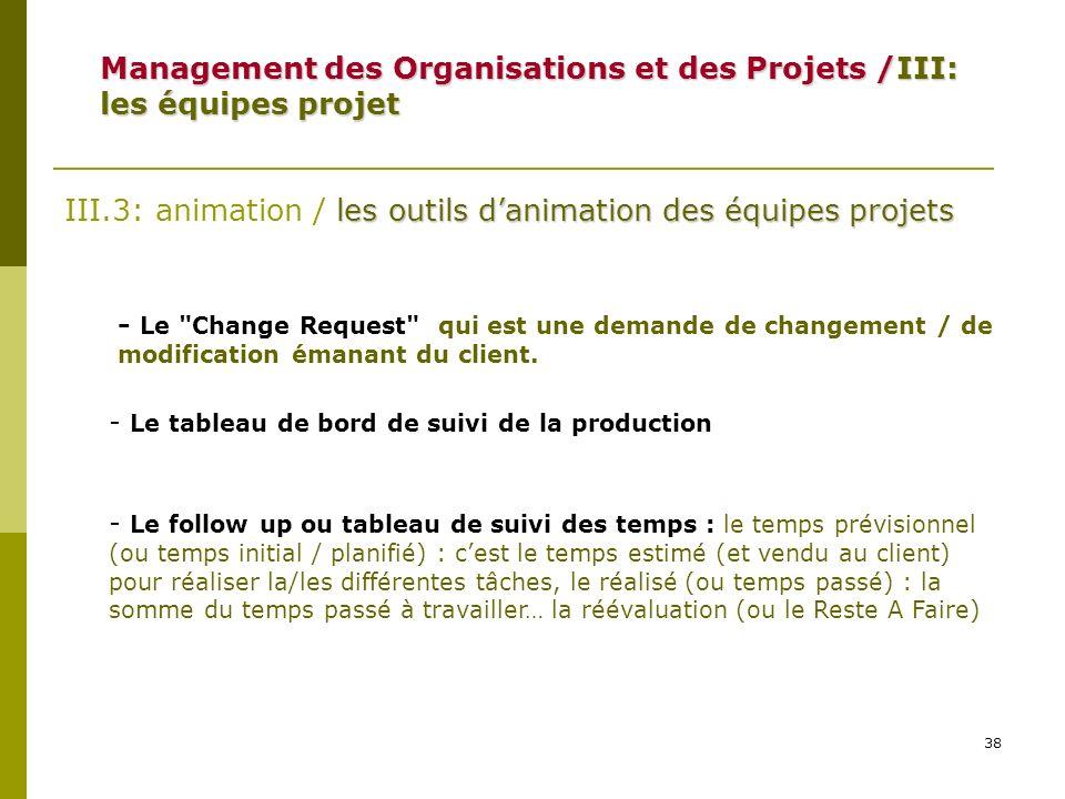 38 Management des Organisations et des Projets /III: les équipes projet les outils danimation des équipes projets III.3: animation / les outils danima