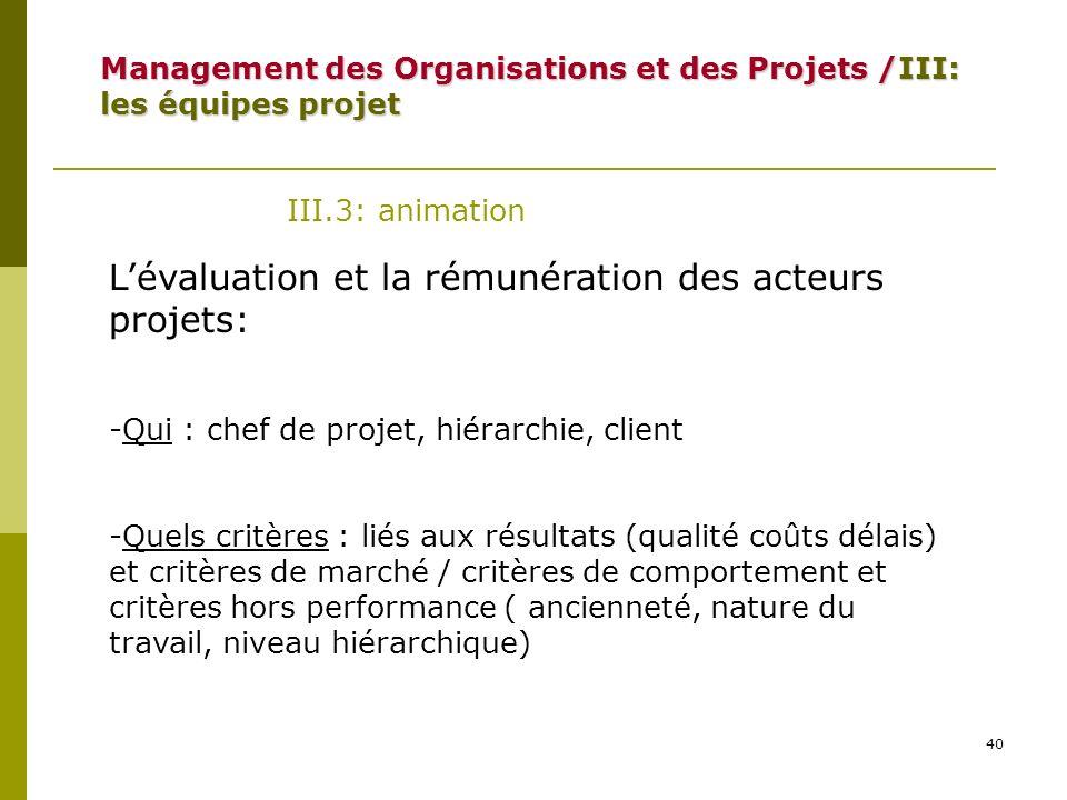 40 III.3: animation Lévaluation et la rémunération des acteurs projets: -Qui : chef de projet, hiérarchie, client -Quels critères : liés aux résultats
