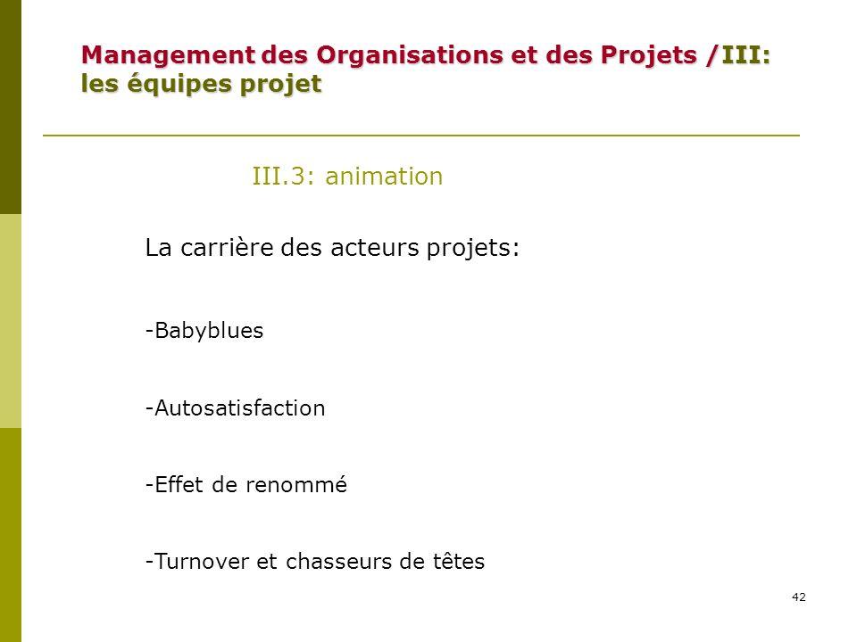 42 III.3: animation La carrière des acteurs projets: -Babyblues -Autosatisfaction -Effet de renommé -Turnover et chasseurs de têtes Management des Org