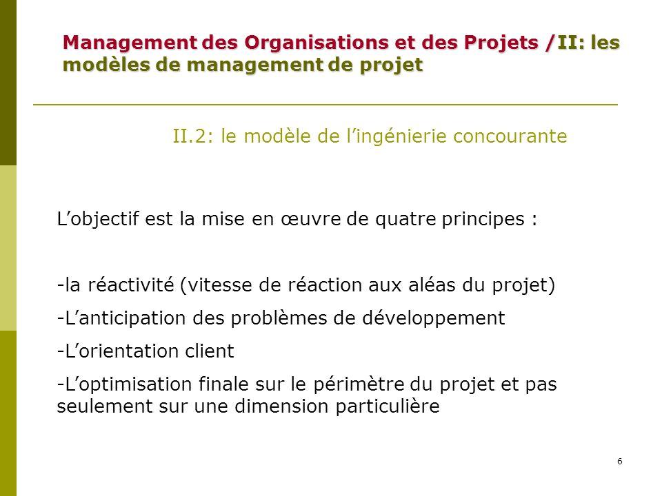 7 II.2: le modèle de lingénierie concourante On identifie six facteurs de vitesse: 1: limplication de la DG en tant que catalyseur (initie et protège le projet) 2: Lauto-organisation des équipes projet : autonomie, auto-transcendance et fertilisation croisée Management des Organisations et des Projets /II: les modèles de management de projet