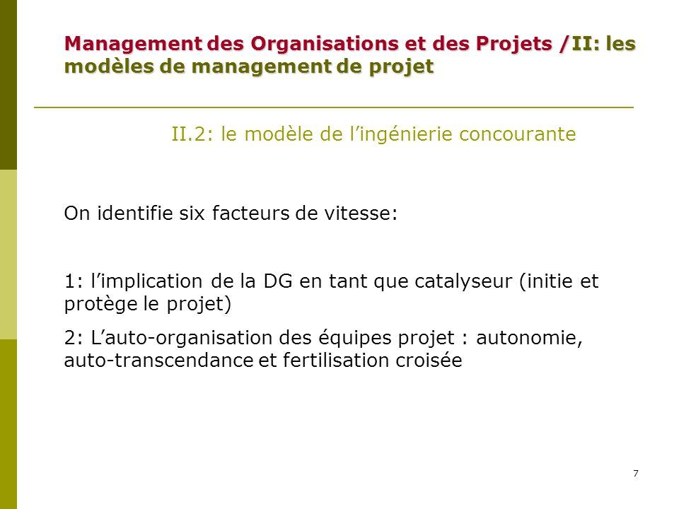 8 II.2: le modèle de lingénierie concourante On identifie six facteurs de vitesse: 3: le recouvrement des différentes phases du projet Type A Type B Type C Management des Organisations et des Projets /II: les modèles de management de projet