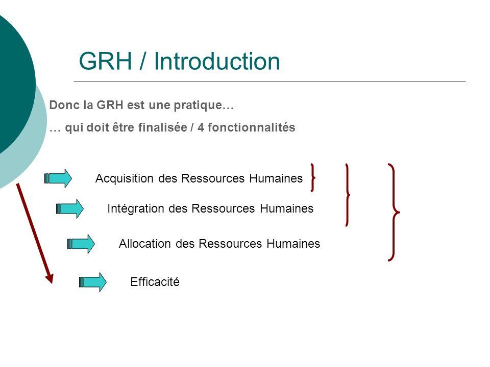 GRH / Introduction Donc la GRH est une pratique… … qui doit être finalisée / 4 fonctionnalités Acquisition des Ressources Humaines Intégration des Ressources Humaines Allocation des Ressources Humaines Efficacité