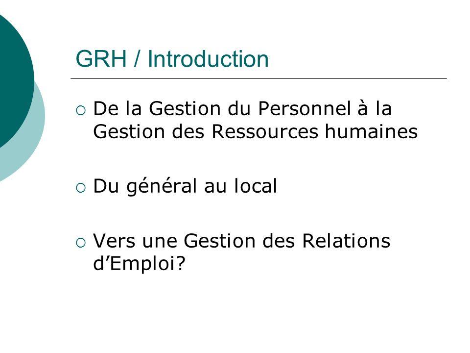 GRH / Introduction De la Gestion du Personnel à la Gestion des Ressources humaines Du général au local Vers une Gestion des Relations dEmploi?