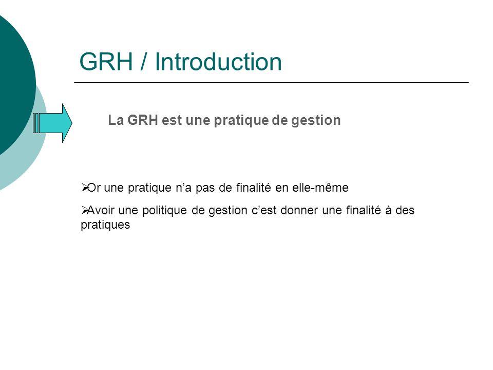 GRH / Introduction La GRH est une pratique de gestion Or une pratique na pas de finalité en elle-même Avoir une politique de gestion cest donner une finalité à des pratiques