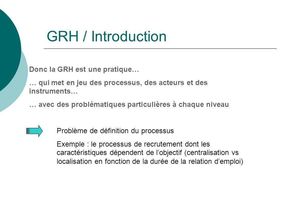 GRH / Introduction Donc la GRH est une pratique… … qui met en jeu des processus, des acteurs et des instruments… … avec des problématiques particulières à chaque niveau Problème de définition du processus Exemple : le processus de recrutement dont les caractéristiques dépendent de lobjectif (centralisation vs localisation en fonction de la durée de la relation demploi)