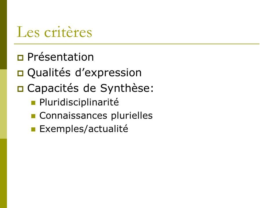 Les critères Présentation Qualités dexpression Capacités de Synthèse: Pluridisciplinarité Connaissances plurielles Exemples/actualité