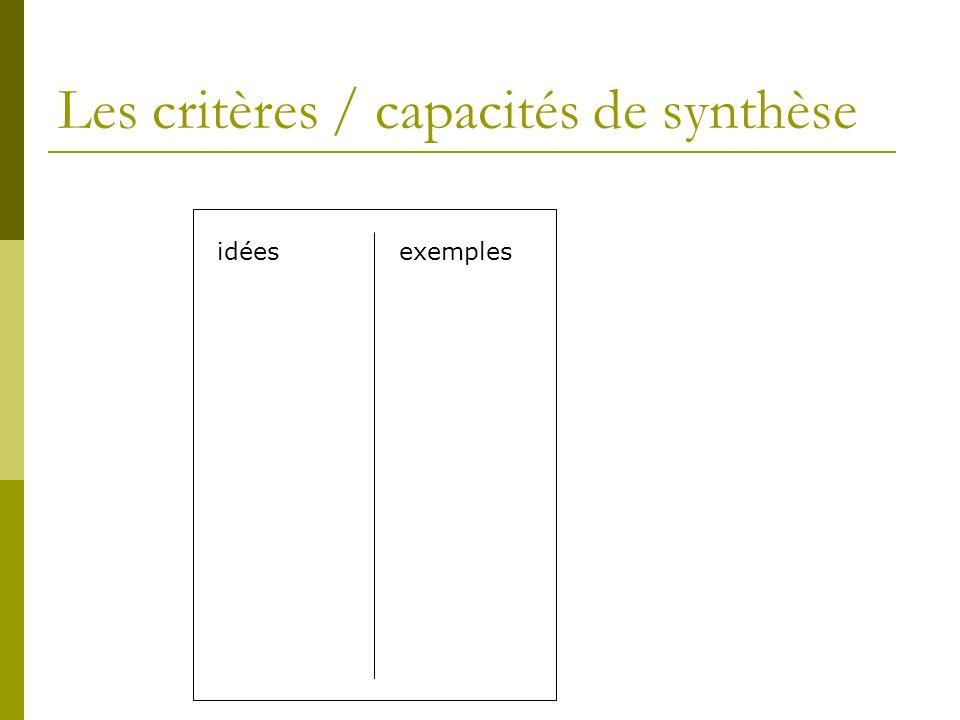 Les critères / capacités de synthèse idéesexemples