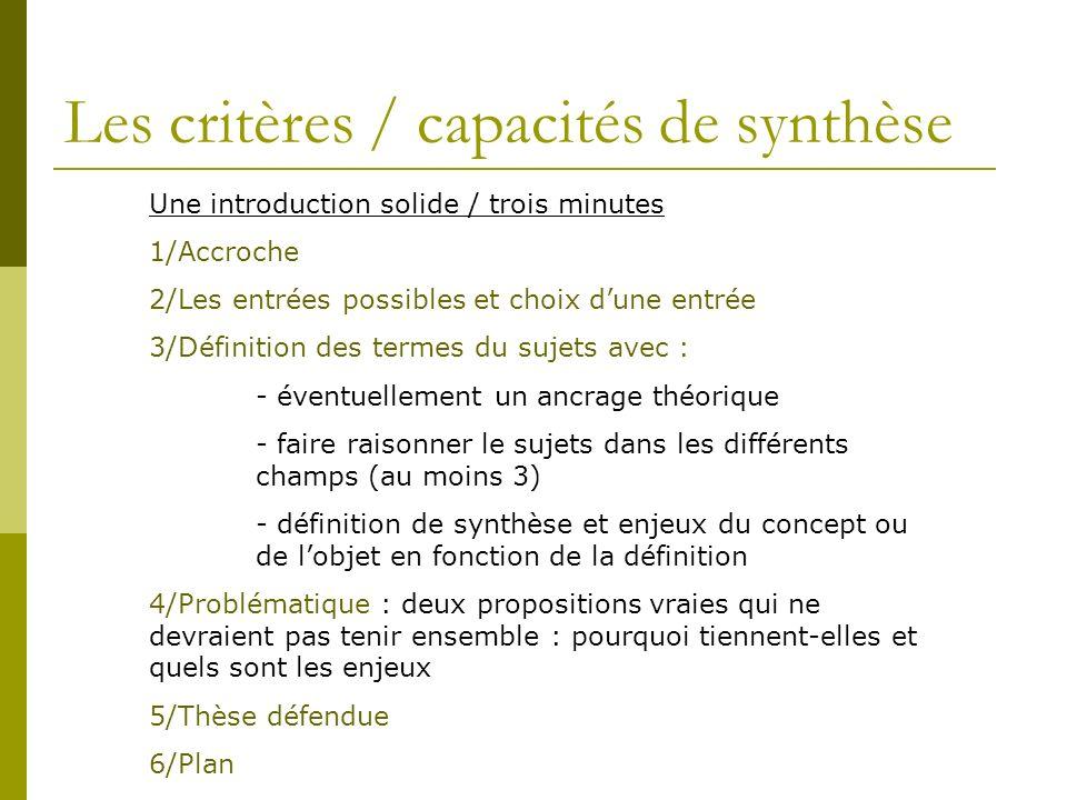 Les critères / capacités de synthèse Une introduction solide / trois minutes 1/Accroche 2/Les entrées possibles et choix dune entrée 3/Définition des