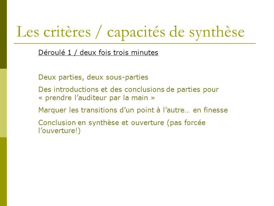 Les critères / capacités de synthèse Déroulé 1 / deux fois trois minutes Deux parties, deux sous-parties Des introductions et des conclusions de parti