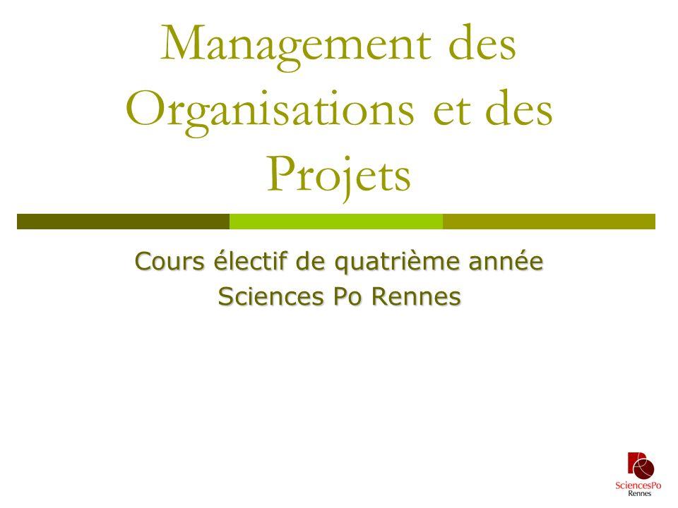 1 Management des Organisations et des Projets Cours électif de quatrième année Sciences Po Rennes