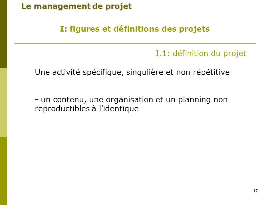 17 Le management de projet I: figures et définitions des projets I.1: définition du projet Une activité spécifique, singulière et non répétitive - un contenu, une organisation et un planning non reproductibles à lidentique