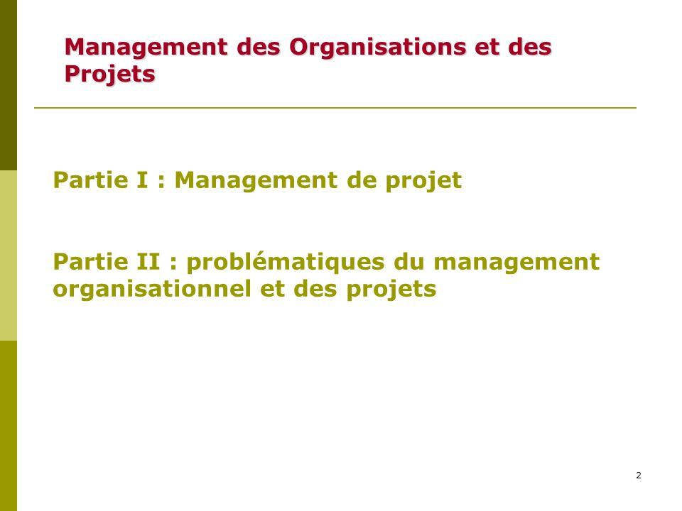 2 Management des Organisations et des Projets Partie I : Management de projet Partie II : problématiques du management organisationnel et des projets