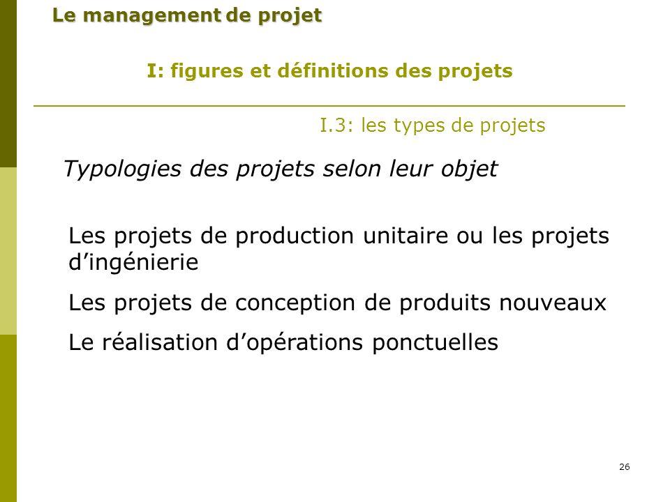 26 Le management de projet I: figures et définitions des projets I.3: les types de projets Typologies des projets selon leur objet Les projets de production unitaire ou les projets dingénierie Les projets de conception de produits nouveaux Le réalisation dopérations ponctuelles